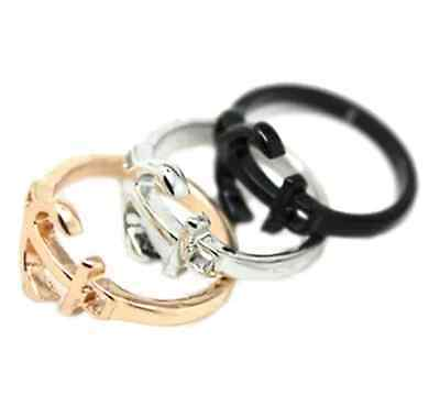 Vintage retro style anchor charm ring multiple colours