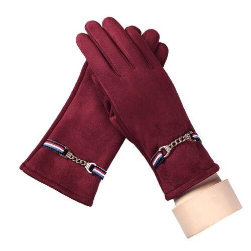Winter Gloves Women/'s Fashion Elegant Suede Metal Chains Outdoor Sports War P7Z4