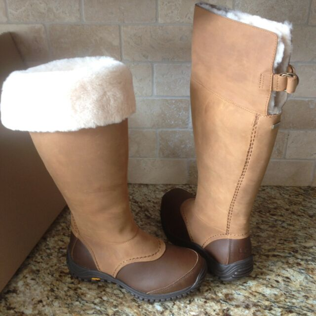 4857937dd35 UGG Miko Chestnut Waterproof Leather Fur Rain Snow Tall Boots Size US 11  Womens