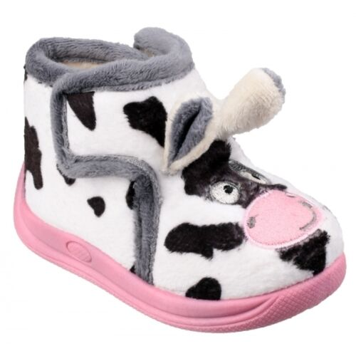 Mirak FARM Unisex Kids Cow Novelty Comfort Touch Fasten Bootie Slippers Pink