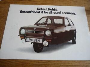 RELIANT ROBIN SALOON, ESTATE AND VAN STANDARD SALES BROCHURE MID 70's