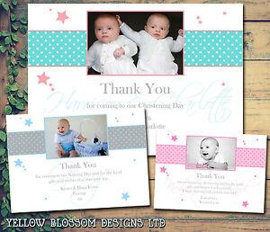 10 Naming Day Thank You Cards Birthday Christening Baptism Boy Girl