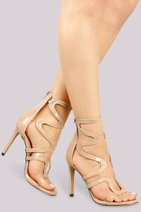 c7412d3868a79 Transparent Clear Strappy Caged Open Toe High Heel Sandals - Nude ...