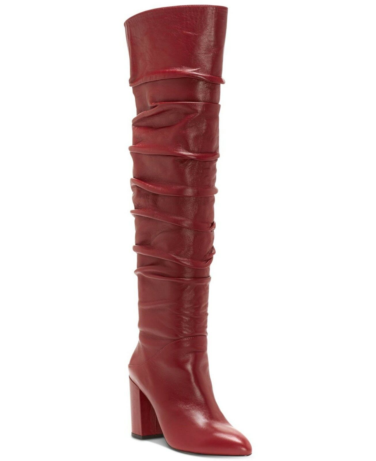 INC International Concepts Tabithaa Over-The-Knee Leather Boots Merlot Size 7.5