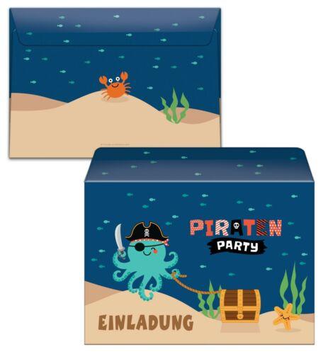 Einladungskarten 7 siebte Geburtstag Kinder Pirat Einladungen mit Umschlag