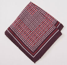 New $135 ERMENEGILDO ZEGNA Burgundy Houndstooth Check Wool-Silk Pocket Square