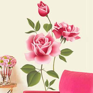Wandtattoo Wandsticker Pinke Rose Wandaufkleber Wohnzimmer Schlafzimmer Flur Ebay