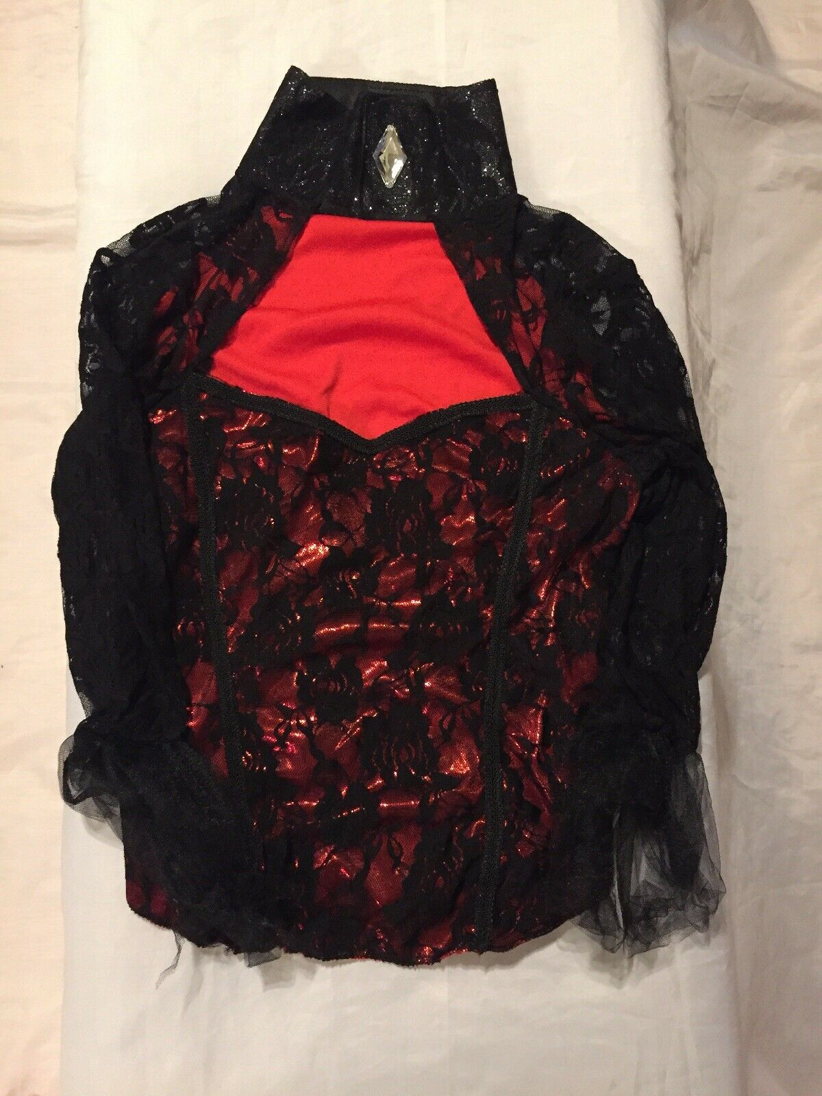 NWOT Women's Black & Red Sexy Lace Exotic Dance Costume Top Size M