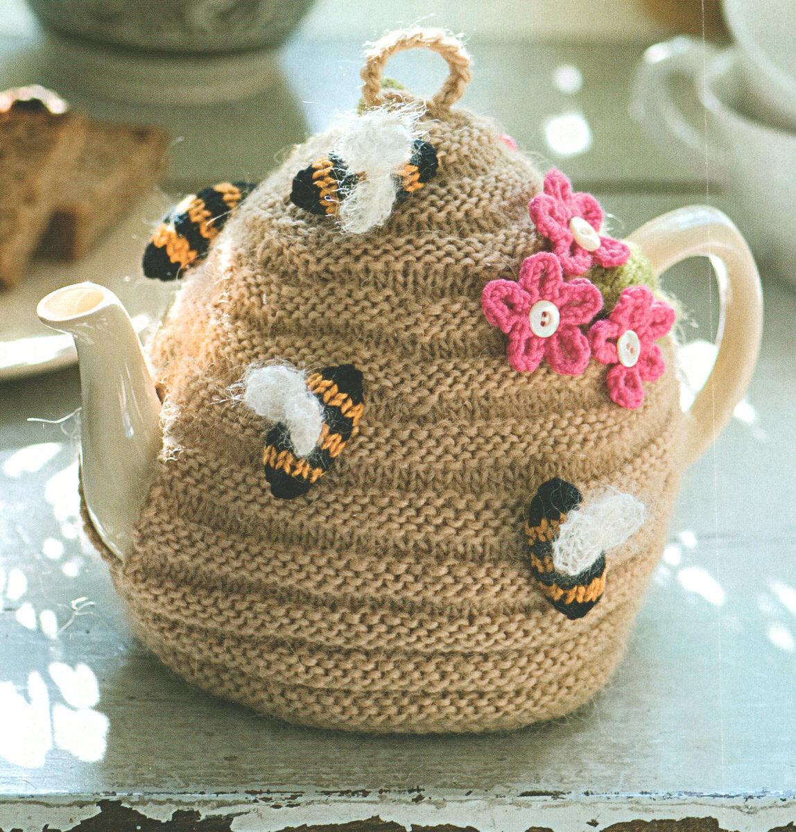 Beehive Tea Cosy ~ Bees & Flowers ~ DK Wool Knitting Pattern ...