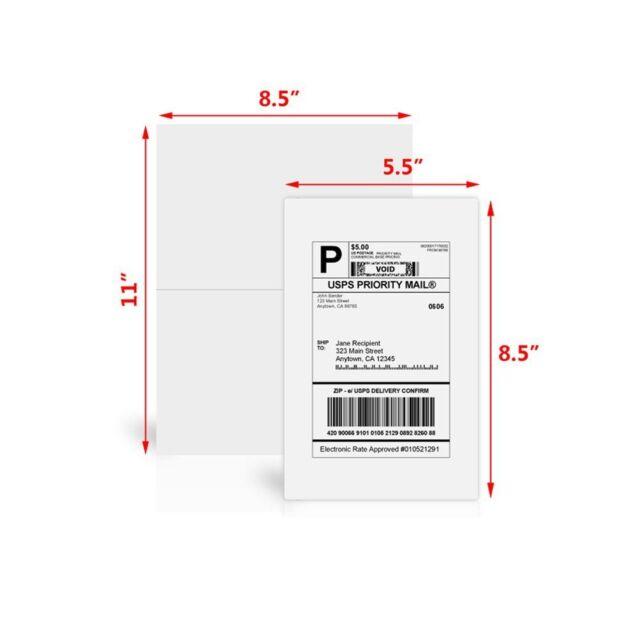 Straight cut 600  Half Sheet self adhesive 8.5 X 5.5 Shipping Labels LUCKYLEO