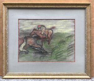 Dessin original Pastel Jean-François THOMAS (1894-1939) Courses Chevaux 1926