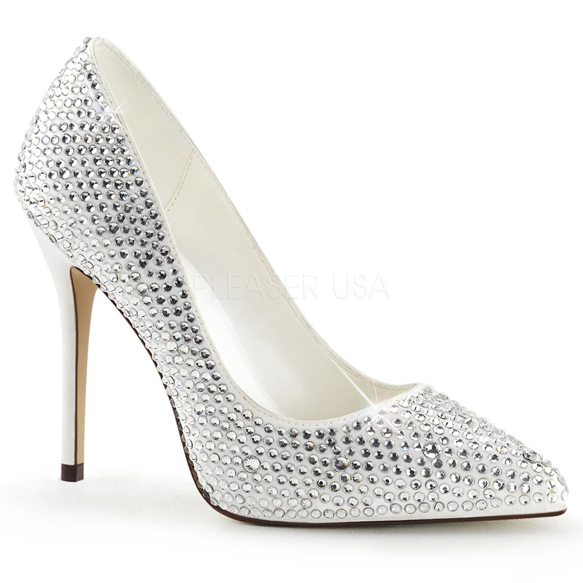 Amuse 20 RS Ivory WEISS Satin Pointy Toe Rhinestone Pump Schuhe 5