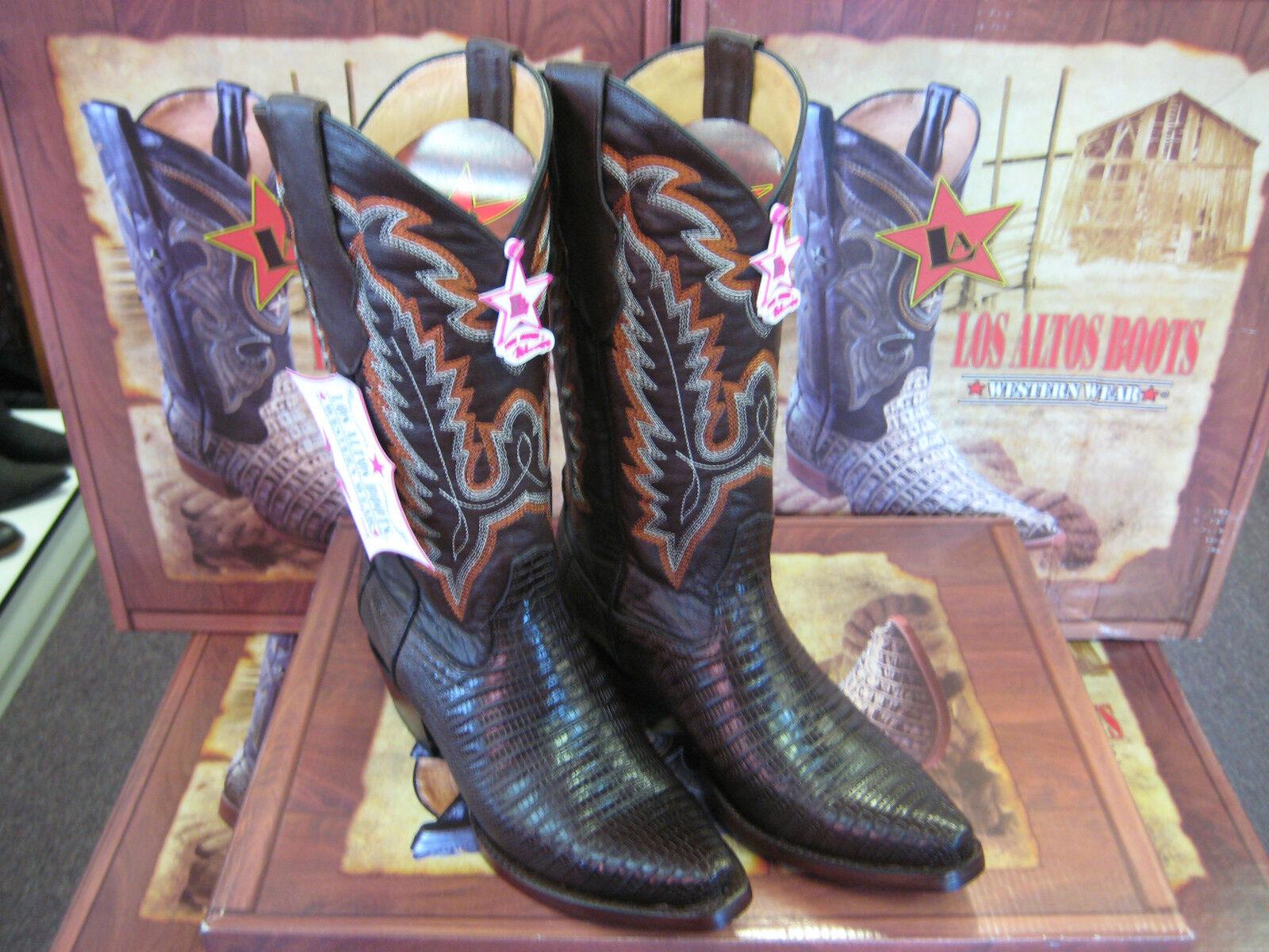 LOS ALTOS WOMEN BROWN GENUINE TEJU LIZARD SNIP TOE WESTERN WESTERN WESTERN COWBOY BOOT 340707 763364