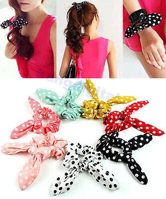 Girls Polka Dot Rabbit Ear Bow Headband Ponytail Holder Hair Tie Band Bracelet
