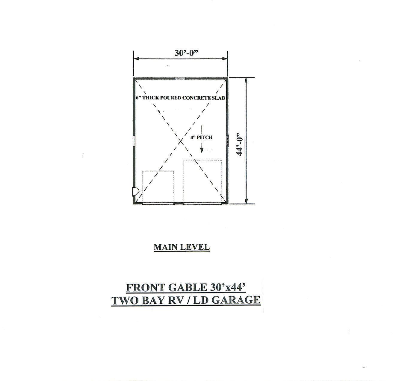 30 x 44 Two Two Two Bay FG / RV Garage Building Blauprint Plans 32a0ac