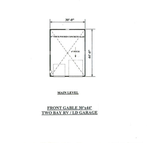 30 x 44 Two Bay FG RV Garage Building Blueprint Plans