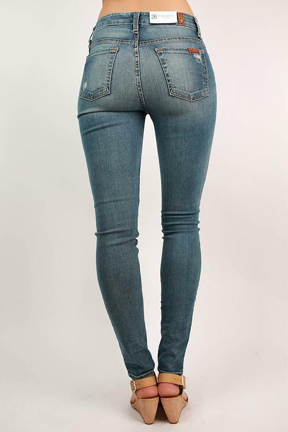 7 for All Mankind Seven High Waist Distressed Skinny Jeans  AH 2 NEW w  Tags