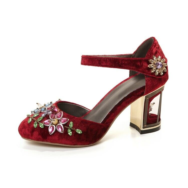 Womens Round Toe Velvet Ankle Strap Pumps Rhinestone Flower shoes Cage Heels New
