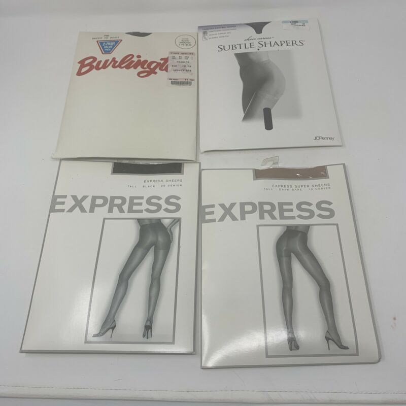 5 Pair Of New Vintage Panty Hose Sz Long Navy Dark Bare Black Express Control