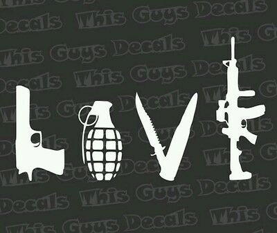 Love with Guns car decal sticker grenade hand gun window vinyl sticker
