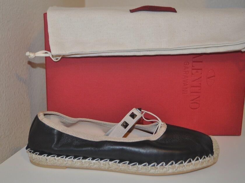 Nuevo En Caja Valentino ROCKSTUD Cuero Bailarina Ballet Alpargata Plana Zapato Negro 37 - 7