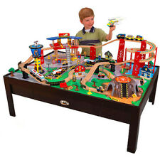 Train Table Set 100-Piece Wooden Tracks Railway Kids Play Airport Tower Toys New
