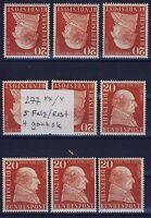 BUND Nr. 277**/* 9 Stück, S Falz-rest, 4 ganz ok, Beans Freiherr zum Stein 1957