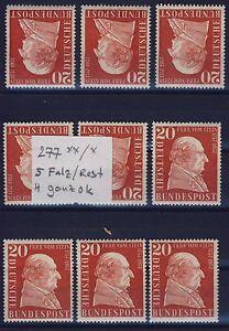 BUND-Nr-277-9-Stueck-S-Falz-rest-4-ganz-ok-Beans-Freiherr-zum-Stein-1957