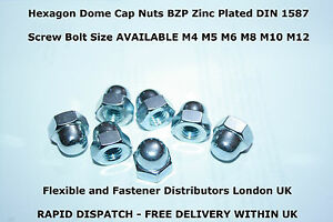 M3-3mm HEX DOMED NUTS HEXAGON DOME NUTS GRADE 6 BRIGHT ZINC PLATED DIN 1587