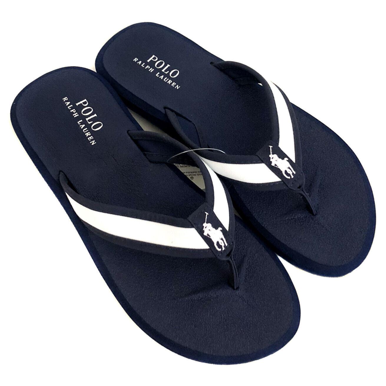 New RALPH LAUREN Navy Flip Flops Slides Sandals Mens UK 10 (EUR 44)