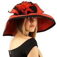 Summer Floral Floppy Sun Big Wide 6 Brim Beach Resort Hat Adjustable Red