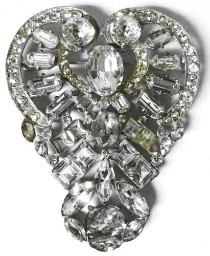 Large Vintage Oversize Crystal Glass Rhinestone AN