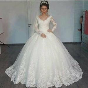 White-ivory-Lace-Applique-Long-Sleeve-V-Neck-Wedding-dress-Bridal-Gown-Custom
