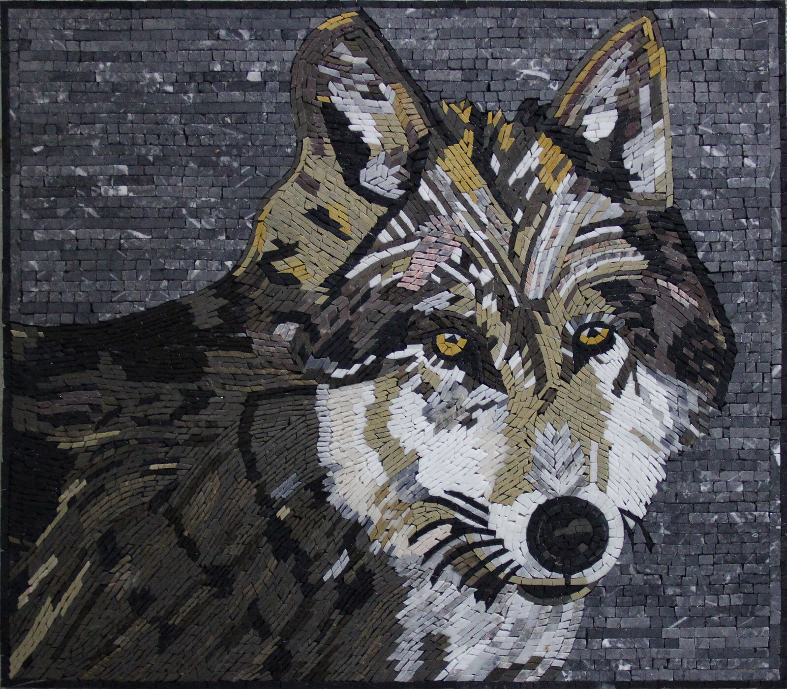 Dark Wolf With Beatiful Grün Eyes Home Decoration Marble Mosaic AN535
