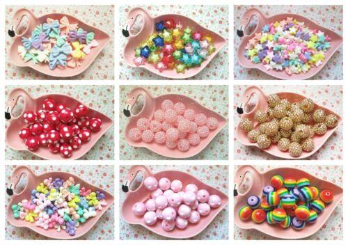 Kawaii Pastel Bow Chunky Sparkly Beads Acrylic Jewellery Bracelet Craft DIY UK