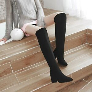 Winter-Warm-Chunky-Block-Heel-Hot-Women-Over-Knee-Thigh-High-Boots-Suede-Shoes