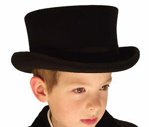 New Kids Girls Boys Wool Felt Black Top Hat Wedding Show Event Hat ... 99b0f1cbcc6