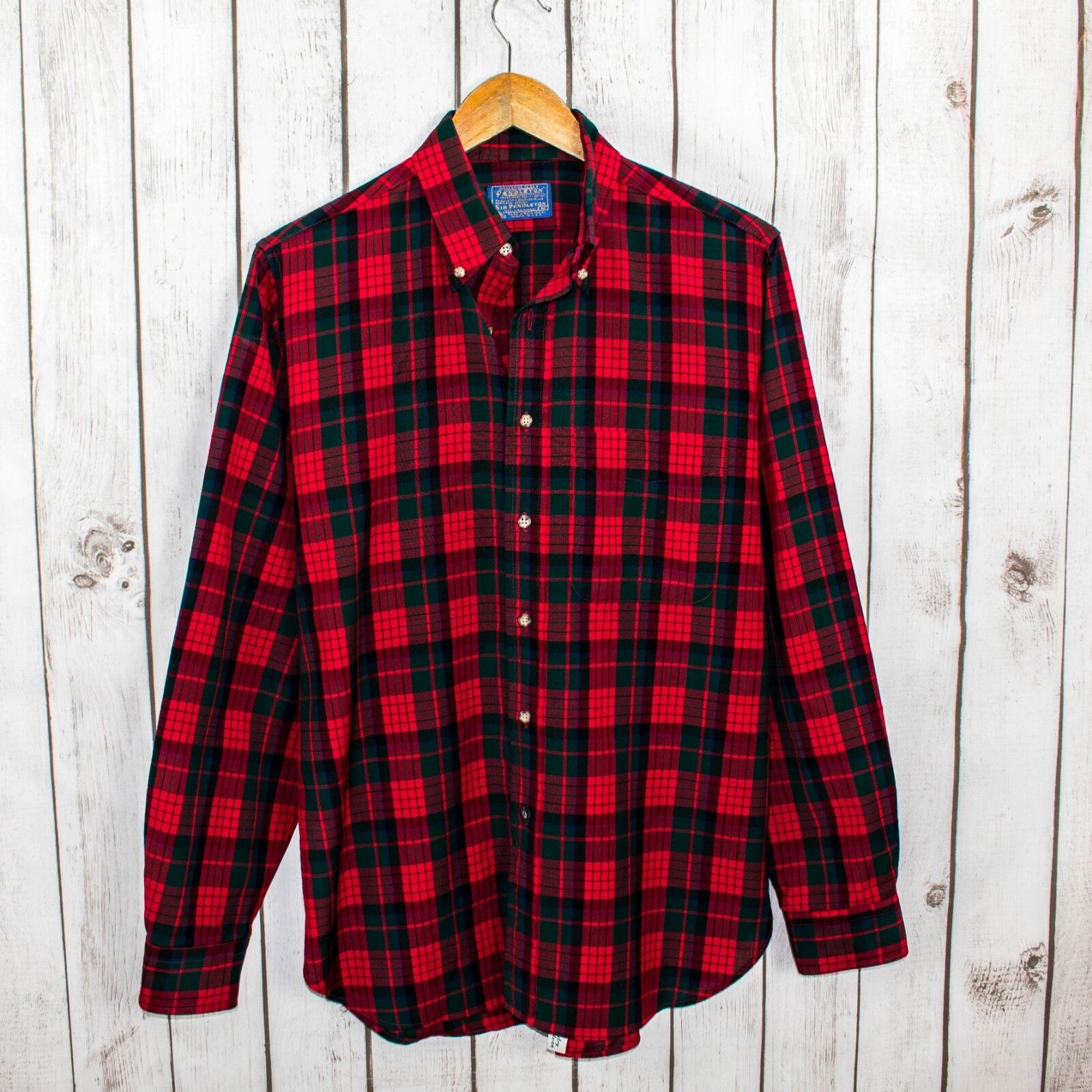 PENDLETON Men's Virgin Wool Outdoor Button Front Shirt Red Green Plaid Sz M USA