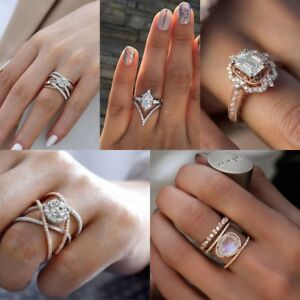 Women-925-Silver-Gold-Plated-Heart-Infinity-Rings-White-Sapphire-Wedding-Sz-6-10
