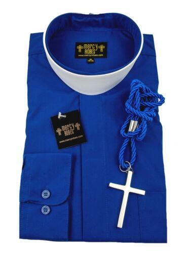 "Cord /& Cross Men/'s Royal Blue Neckband Clergy Shirt Includes 1.50/"" Soft Collar"