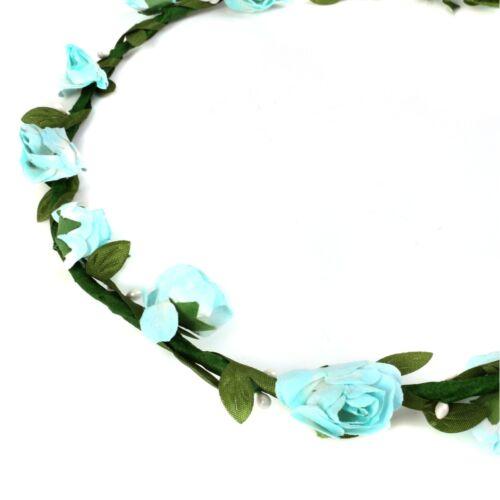 BABY BLUE FLOWER GARLAND Head Dress Hair Band Floral Festival Vine Leaf Trail