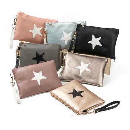 Fashion Women Leather Star Clutch Handbag Envelope Package Bag Evening Bags CB