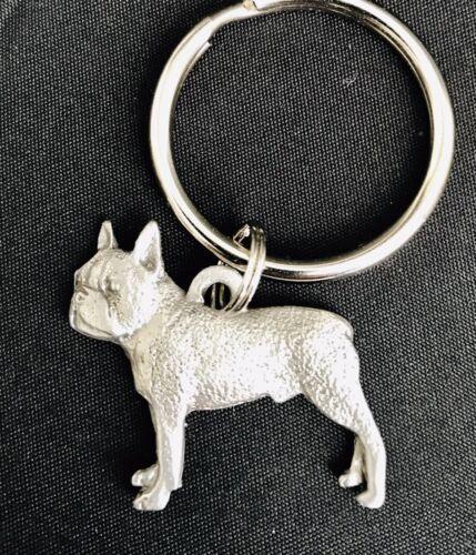 Solid Pewter BOSTON TERRIER Dog Puppy Silver Metal Figurine Keychain #79