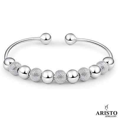 925 Sterling Silver Open Beads Linked Bangle Bracelet Ladies Womens Jewellery UK