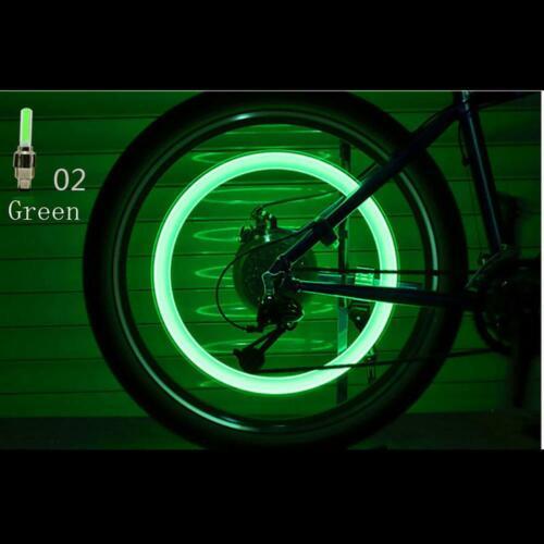 2pcs Auto Accessories Car Supplies Bike Neon Blue Strobe LED Tire Valve Caps