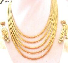VINTAGE BARTEK 1950'S MULTI GOLD CHAINS NECKLACE W/ DANGLE CHAIN BALL EAR CLIPS