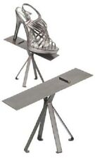 6 Polished Raw Steel 6 Shoe Stands Display Metal Retail Tilted Stay Ledge Heals