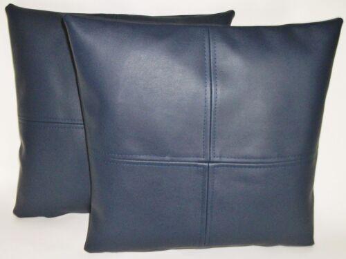 """2 Bleu Marine Carreaux bleu en cuir synthétique housses de coussin 16/"""" 18/"""" 20/"""" Diffusion Oreillers"""
