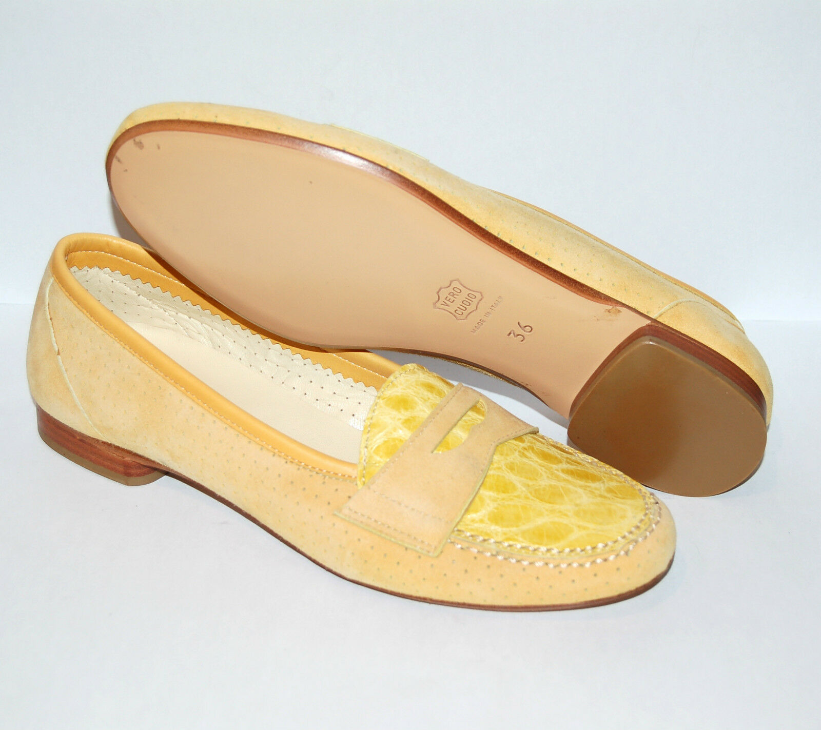 WOMAN - PENNY LOAFER - 36 + - GENUINE  CROCODILE + 36 PERF. SUEDE - LEATHER SOLE 1e8f82