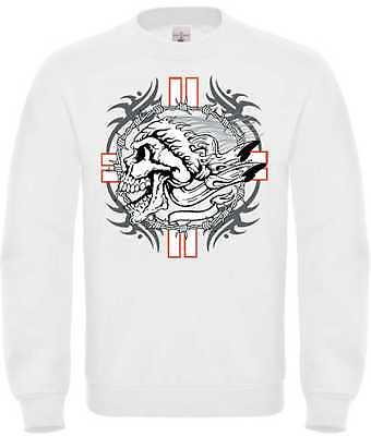 Abile Felpa In Bianco Con Un Gothik-, Biker - & Tatuaggio Motivo Modello Cross Skull-&tattoomotiv Modell Cross Skull It-it Mostra Il Titolo Originale Avere Uno Stile Nazionale Unico